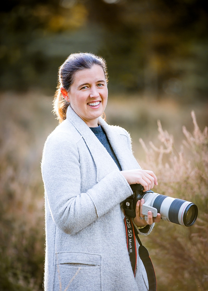 Louisa French, a family photographer from cambridge, pictured with her Canon camera