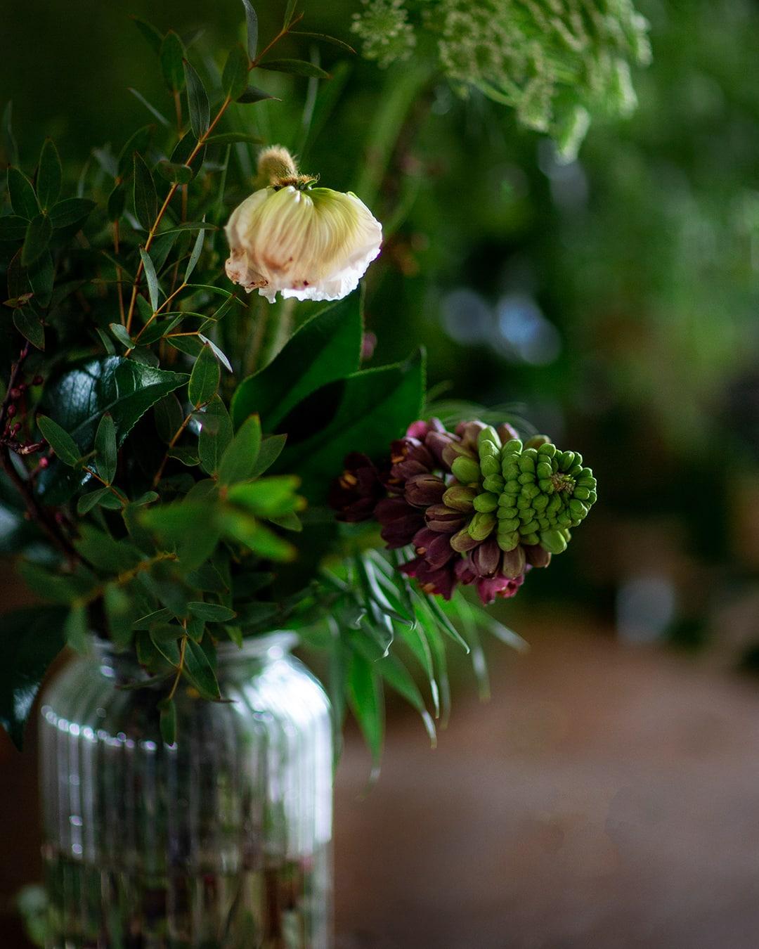 bud vase of flowers designed by Amelia Cornish, cambridge florist