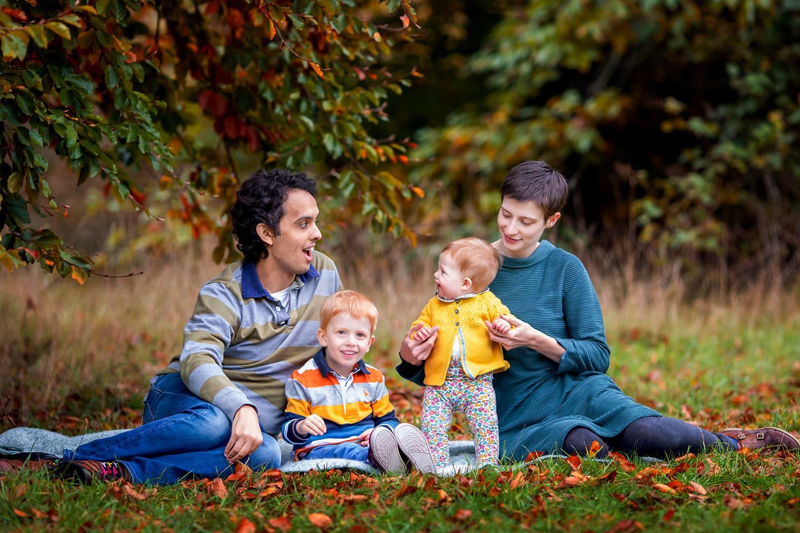 family on an Autumn mini shoot in Cambridge