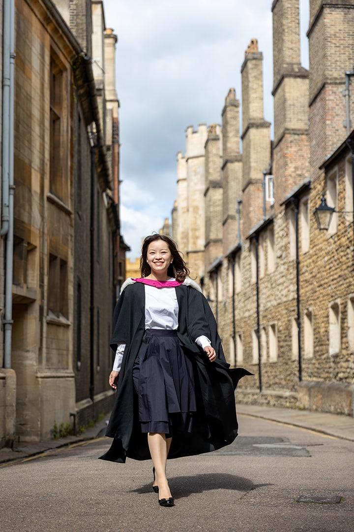 Cambridge graduate on Trinity Lane