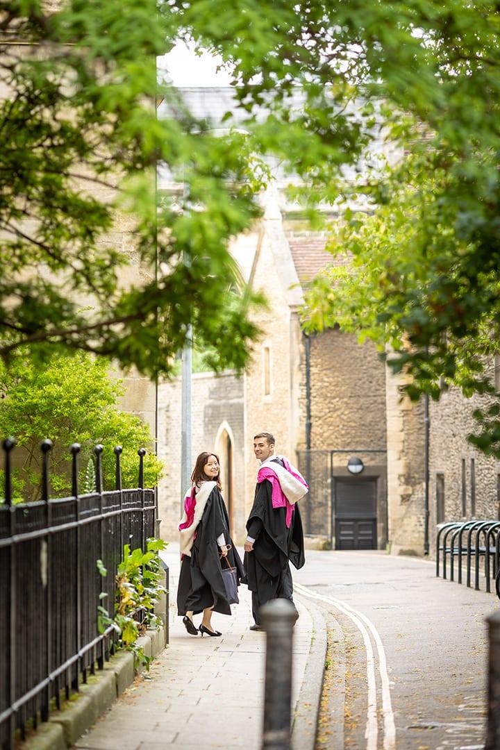 Cambridge University student on a graduation photoshoot